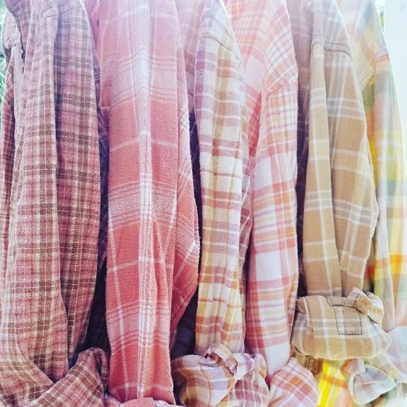 St. John's Bay Tops - Custom bleached plaid flannel distressed xl